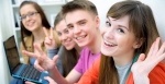 Close-up of four teenagers laughing and gesturing at camera - Липецкая ГТРК